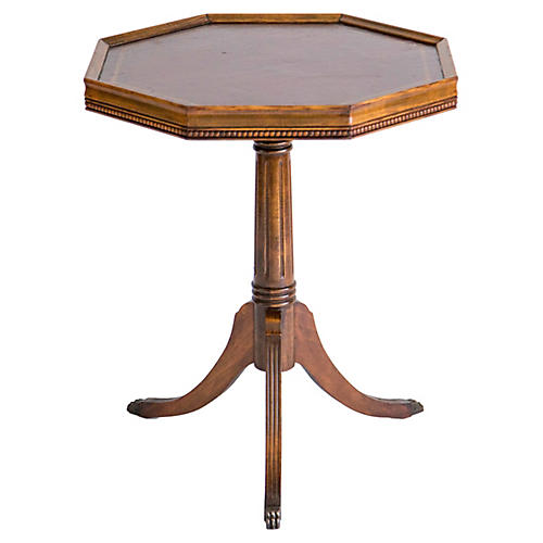 Leather Top Pedestal Accent Table