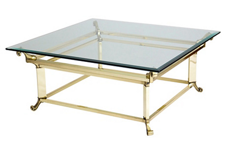 Square Brass & Glass Coffee Table