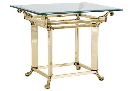 Rectangular Brass & Glass Side Table