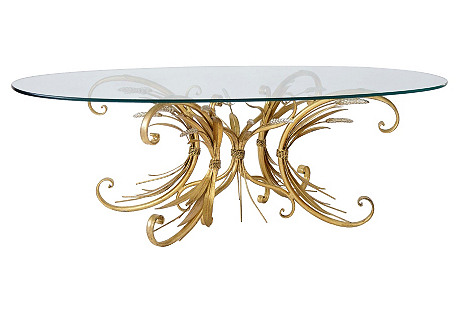 Gilded Wheat & Scrolls Coffee Table