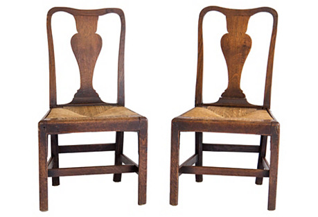 English Side Chairs C. 1760, Pair