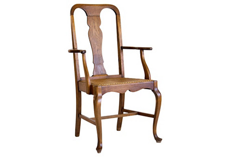 Queen Anne Armchair w/ Caned Seat