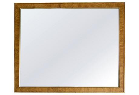 Large Oak Mirror w Gold Trim