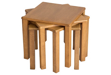 Midcentury Stacking Tables, S/4