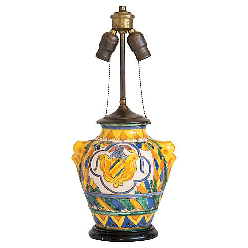 Early Bitossi Majolica Vase Lamp