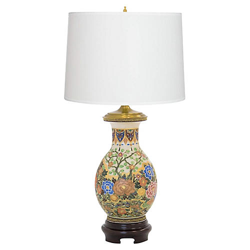 Hand-Painted Vase Lamp