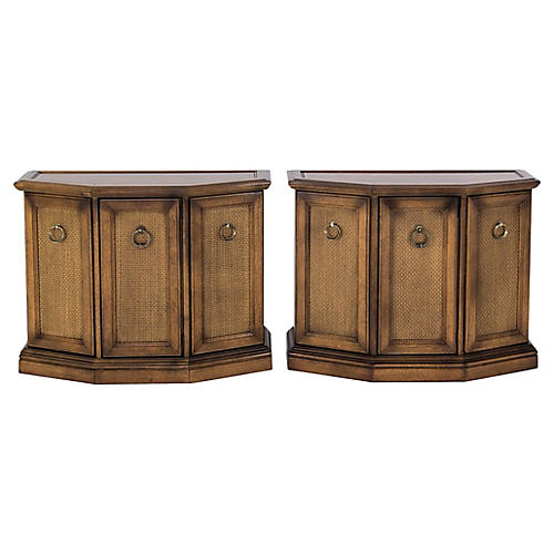 Caned Console Cabinets, Pair