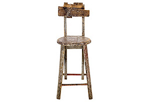 Distressed Wooden Stool*