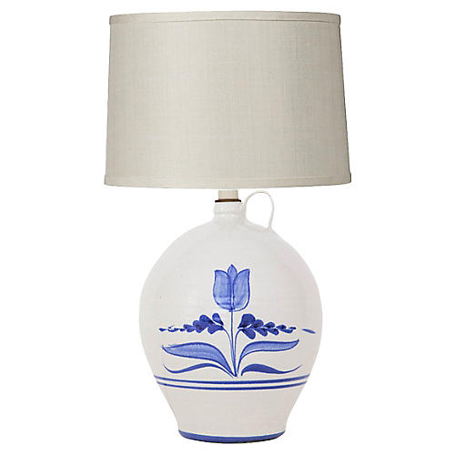 Stoneware Jug Lamp w Tulip