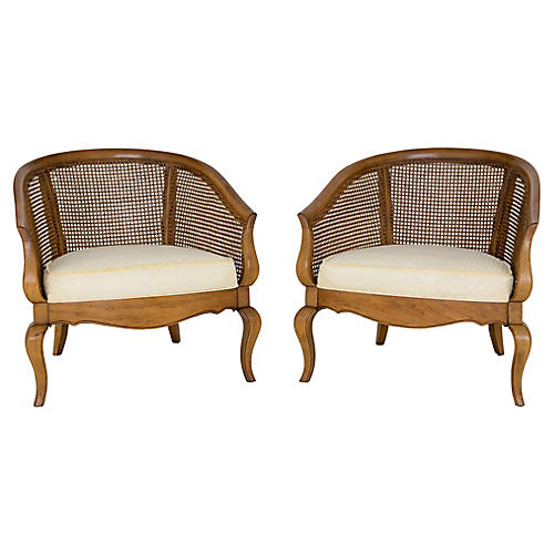 Caned Lounge Chairs, Pair