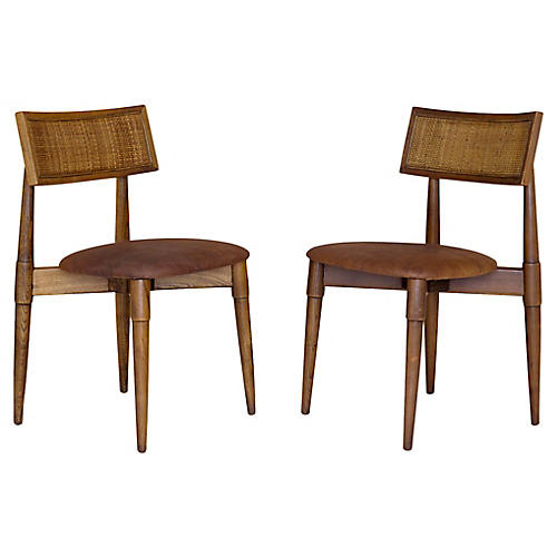 Cane & Leather Side Chairs, Pair
