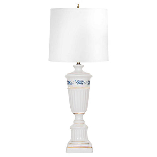 White Porcelain Lamp w Blue Roses