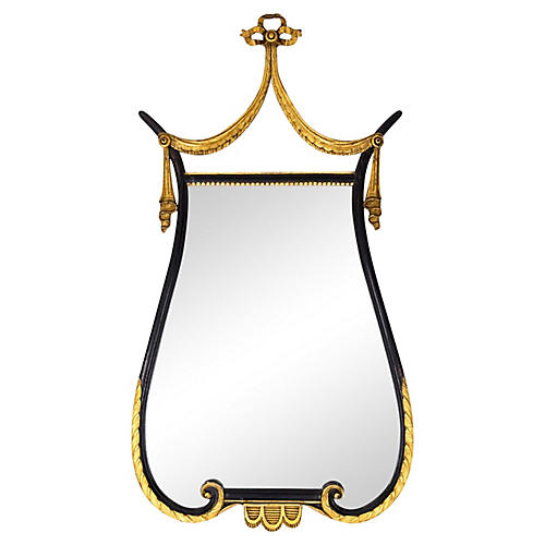 French Empire Lyre-Form Mirror