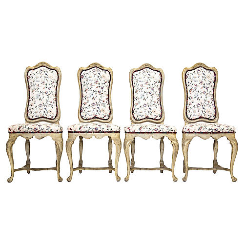 Louis XV Carved Side Chairs, S/4