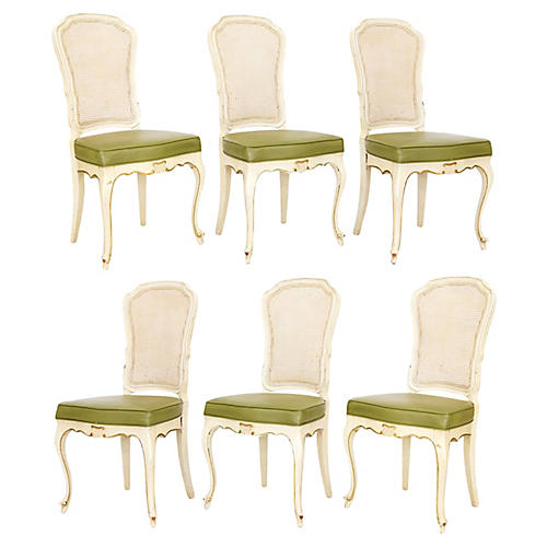Caned-Back Side Chairs, S/6