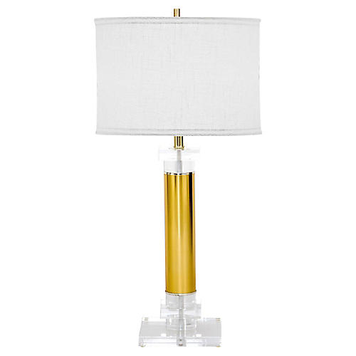 Lucite & Brass Table Lamp