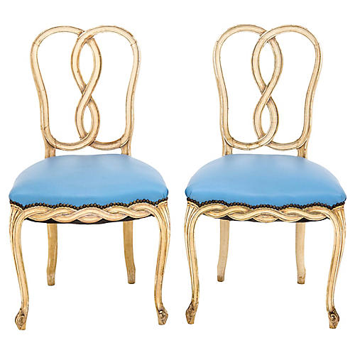 Loop Back Rococo-Style Side Chairs, Pair