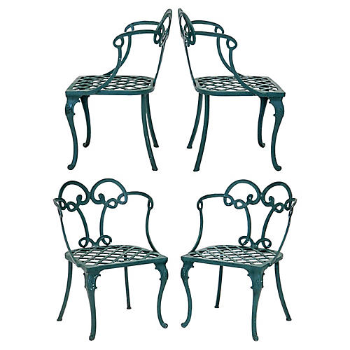 Looped Back Patio Chairs, S/4