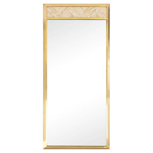 Tall Brass & Travertine Mirror by Metz