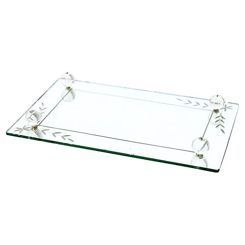 Etched Glass Vanity Mirror Tray