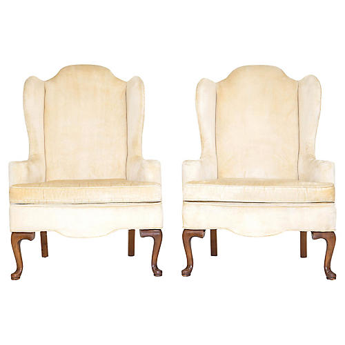 Queen Anne Wingback Chairs, Pair