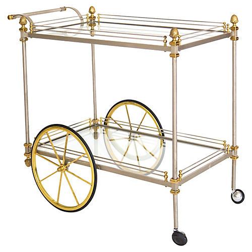 Italian Brass & Steel Bar Cart
