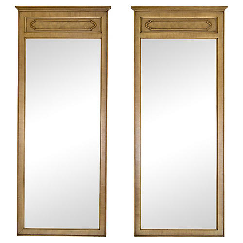 Tall Mirrors w/ Burled Panels, Pair