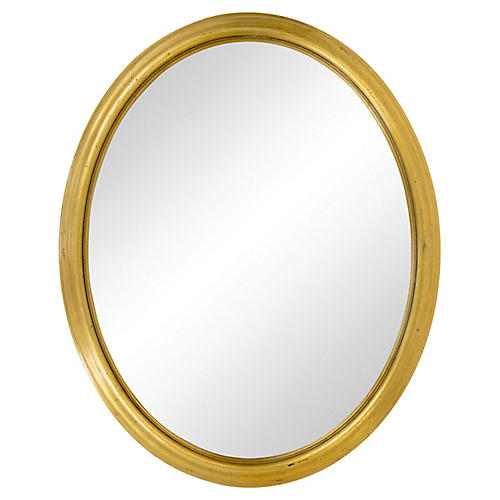 Oval Mirror w/ Giltwood Moulded Frame