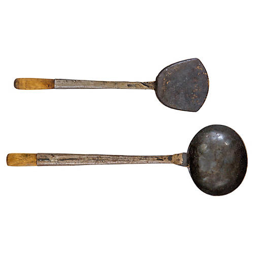 Antique Hand-Forged Ladle & Spatula, S/2