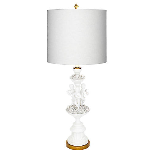 Italian Porcelain Lamp w Applied Flowers