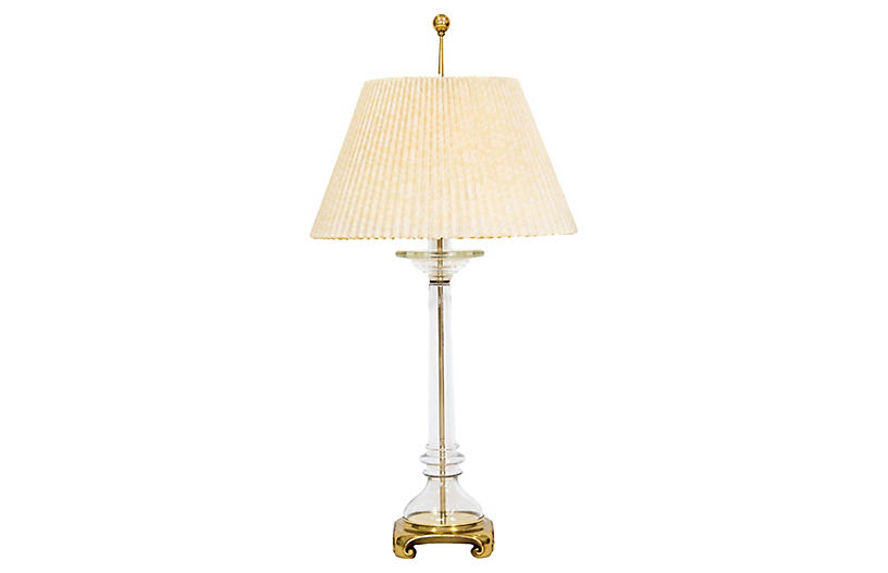 Brass & Glass Lamp w Shade by Speer