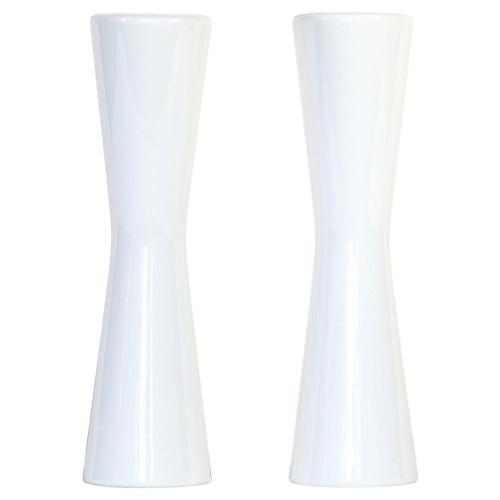 Midcentury White Salt & Pepper Shakers