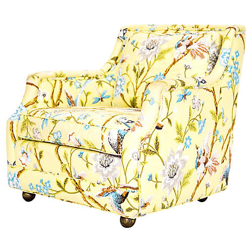 Botanical Yellow Lounge Chair on Casters