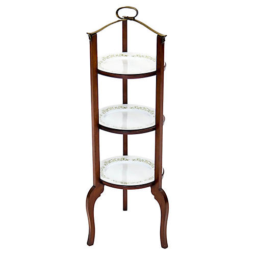 3-Tier Serving Stand w Brass Handle