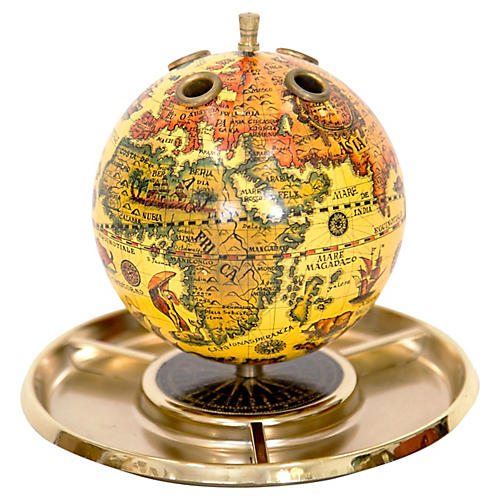 Old World Globe Desk Organizer