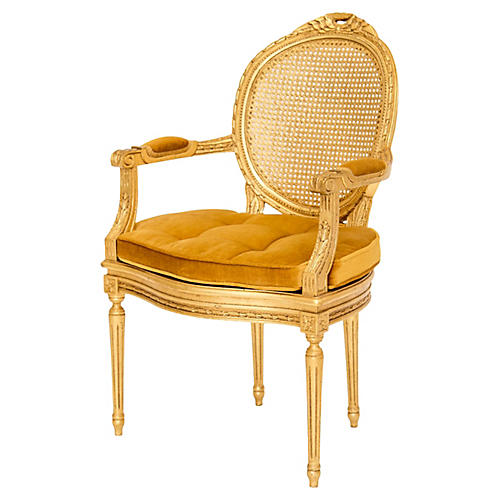 Gilded Louis XVI Caned Fauteuil
