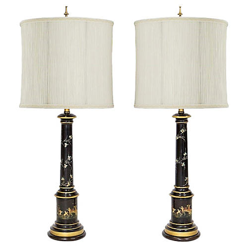 Italian Tole Lamps by F. Cooper, Pair