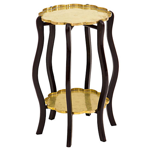 Two-Tier Brass Tray Side Table