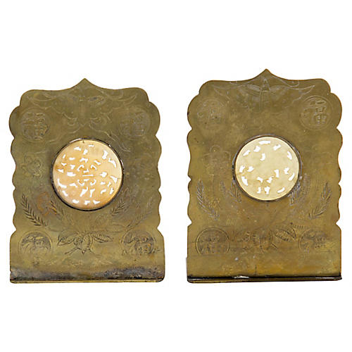 Brass & Carved Jade Bookends, Pair
