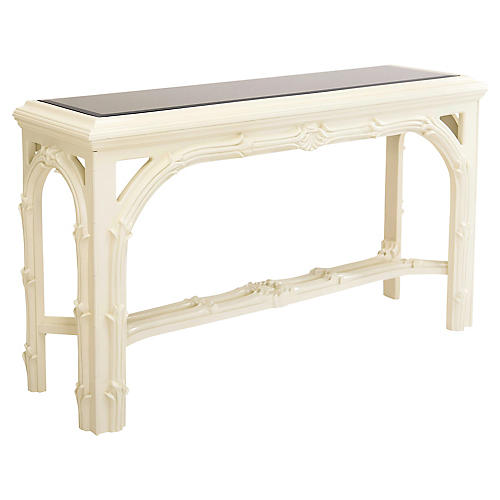 Carved Foliate Mirror Top Console Table