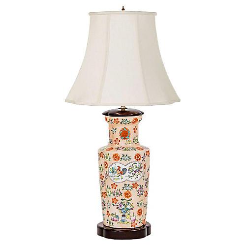 Japanese Hand-Painted Vase Lamp