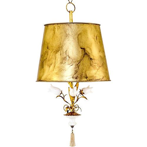 Italian Tole & Alabaster Pendant Lamp