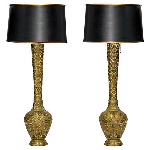 Tall Champlevé Brass Vase Lamps, Pair