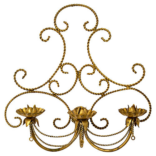 Italian Gilded Tole 3-Candle Wall Sconce