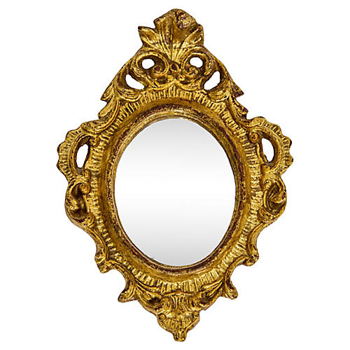 Petite Italian Gilded Oval Mirror