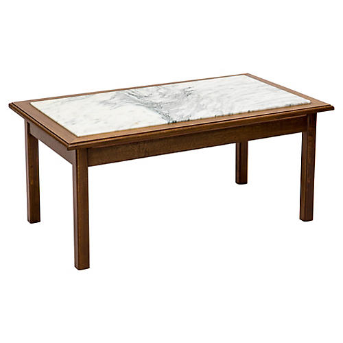 Marble & Walnut Coffee Table