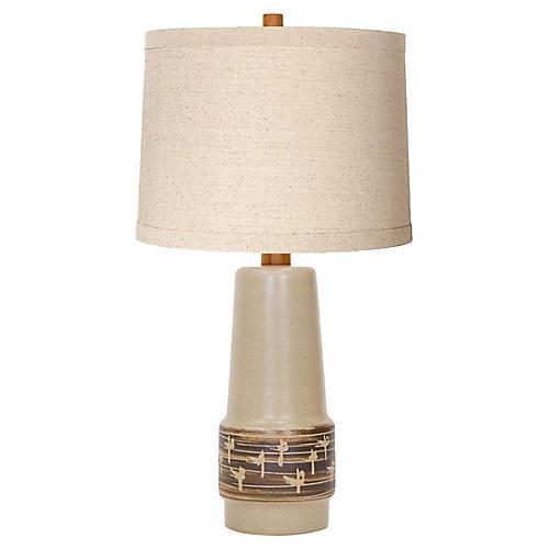 Martz Incised Stoneware Lamp