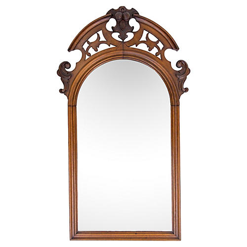 Antique Arched Mirror w Carved Pediment
