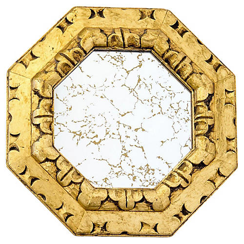 Carved Giltwood Mirror w Gold Veining