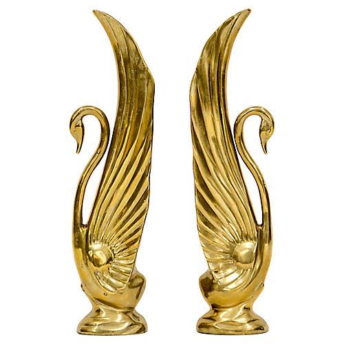Rosenthal Netter Tall Brass Swans, Pair